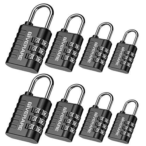 GIVERARE 8 Pack Combination Lock, 3-Digit Padlock Keyless, Resettable Luggage Locks for Backpack, Gym & School & Employee Locker, Weatherproof Travel Lock for Fence, Backyard Gate, Hasp, Case-Black