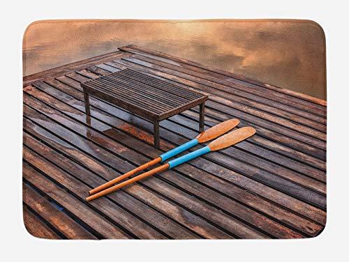 Alfombrilla de baño de remo, paletas en una vieja tabla de madera para el muelle de The Lake Mystic Imagen de vacaciones de verano de fondo, alfombra de decoración de baño de felpa con respaldo antide