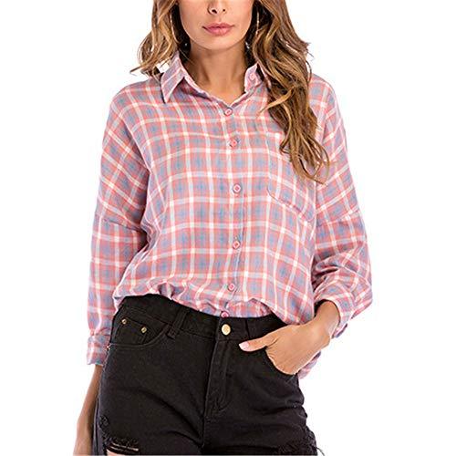 Generice Frühlingshemd für Damen, kariert, langärmelig, lockeres Hemd, lässige Mode, Übergröße Gr. Small, rose