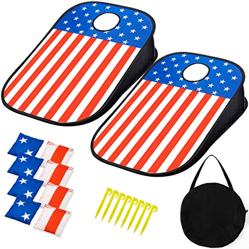 Corn Hole Beans Bags Game Outdoor - Portable Cornhole Boards Set & All Weather Toss Bags & Scoreboard, Outside Indoor Game for Adults, Kids, Family, for Camping, Travel, Beach, Lawn, Backyard
