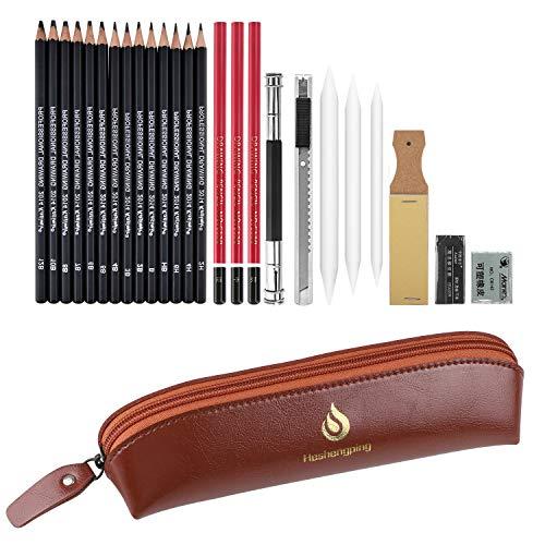 Ensemble de crayons desquisse et de dessin 26 de fournitures dart ensemble de crayons professionnels au charbon de bois graphite enfants et adultes débutants étudiant artiste(StyleB)