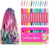 Hair Chalk, 12 Colors Hair Crayons for Girls Washable Hair Dye Brow Girls Hair Accessories for Party and...