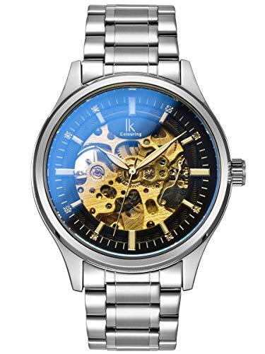 Alienwork Herren Damen mechanische Automatik-Uhr Silber mit Edelstahl Metallarmband schwarz
