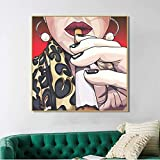 Flduod Modern Nordic Abstract Women Picture Cartoon Canvas Painting Poster e Stampe Bar Wall Art Pictures Arredo Bagno