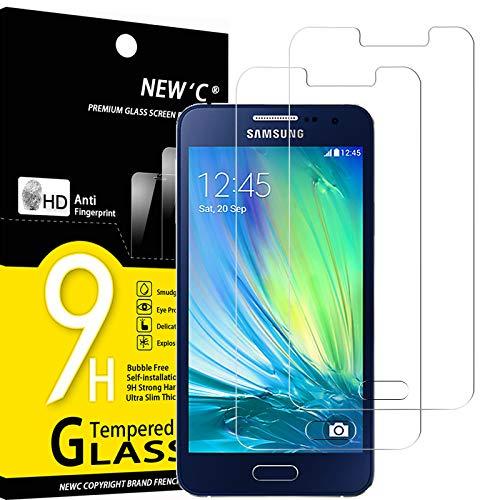 NEW'C 2 Pezzi, Vetro Temperato Compatibile con Samsung Galaxy A3 2015 (SM-A300F), Pellicola Prottetiva Anti Graffio, Anti-Impronte, Durezza 9H, 0,33mm Ultra Trasparente, Ultra Resistente