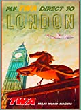 A SLICE IN TIME Fly TWA Direct to London England Great Britain Vintage Travel Advertisement Art Poster Print. 10 x 13.5 inches
