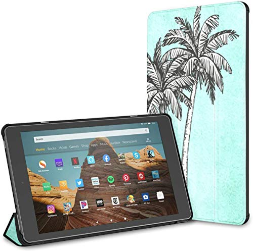Case for All-New Amazon Fire Hd 10 Tablet (7th and 9th Generation,2017/2019 Release),Slim Folding Stand Cover with Auto Wake/Sleep for 10.1 Inch Tablet, Coconut Palm
