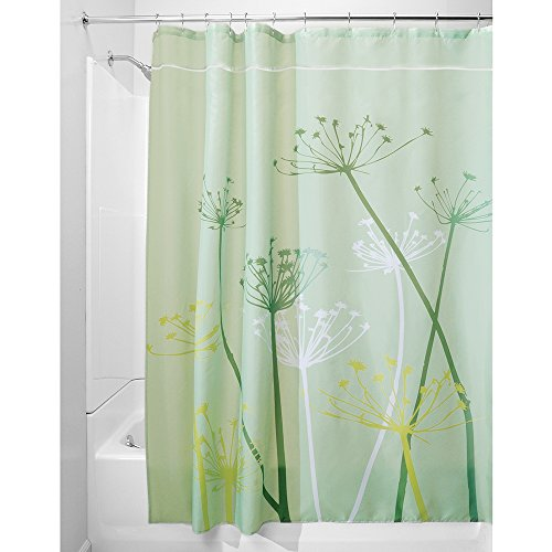 Price comparison product image iDesign Thistle Shower Curtain,  Large Bathtub Curtain,  Made of Polyester,  Green