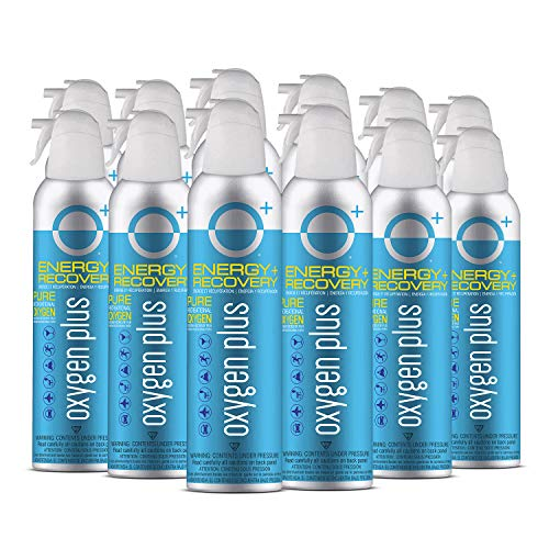 Oxygen Plus 99.5% Pure Recreational Oxygen Cans – O+ Biggi 12-Pack – Natural Breathing Remedy for Energy, Recovery – 11 Liter Cans, 50+ Uses – USA-Made Facility Oxygen – High-Purity Canned Oxygen