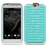 HTC ONE A9 Case, Studded Diamond Hybrid Bling Dual Layer Crystal Rhinestone Cover Silicone Rubber Skin Hard Bumper Case For HTC ONE A9 Case - Teal/White