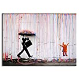 DVQ ART - Colorful Rain Prints Paintings Modern Canvas Wall Art With Frames For Home Decorative Picture