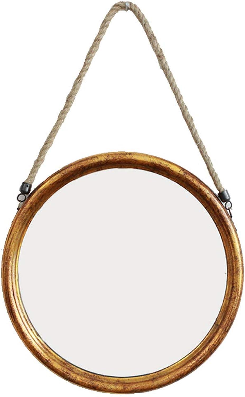 YANZHEN Mirror Wall-Mounted Hemp Rope Household Fashion Bar Bathroom American Style Circular Iron, 2 colors (color   gold, Size   38x38cm)