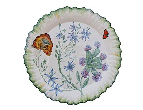 Faïencerie de Niderviller ~ Assiette Plate Ronde Folies botaniques faïence - Lot de 4