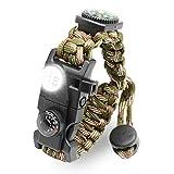 LeMotech 21 in 1 Adjustable Paracord Survival Bracelet, Tactical Emergency Gear Kit Includes SOS LED...
