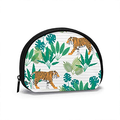 Tigres Plantas Tropicales Animales Tigre pequeño Monedero para Mujeres Lindo Monedero para niña Bolsa de Monedas Bolsa de Almacenamiento Billetera de Concha