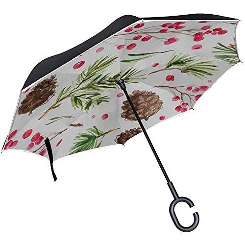 Alice Eva Umgedrehter Regenschirm Faltbarer Umgedrehter Regenschirm Natürlicher Kleiner Pflanzen-Kiefer-Frucht-Klappstuhl-Regenschirm Tragbarer Klappschirm