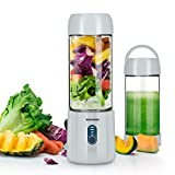 Portable Smoothie Blender, REDMOND USB Rechargeable Blender 4000mAh with 480ml Glass Travel Bottle, 6 Stainless Steel Blades, Battery Indicator for Shakes and Smoothies Outdoor (Cool Grey)