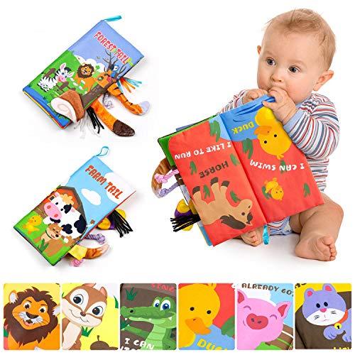 Comius Sharp 2 Kopien Stoffbuch für Babys Pädagogisches Lernspielzeug Buch, Weiches Buch Baby Stoffbücher mit Tieren für Prima Geschenk zur Taufe Kleinkinder, Kleinkinder