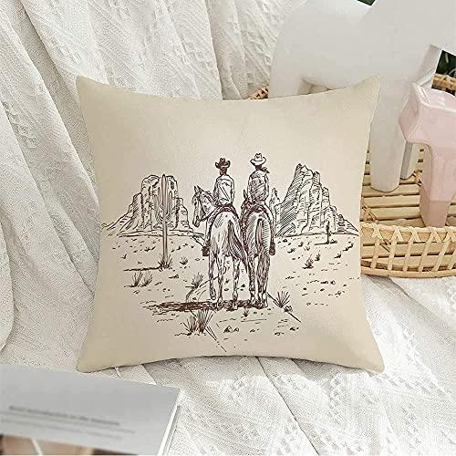 Colección de fundas decorativas para cojines cuadrados, personas dibujadas a mano en EE. UU., Dos vaqueros montando en caballos, bosquejo de parques antiguos, Sheriff, funda de almohada para e