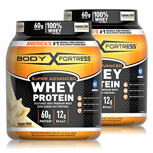 Body Fortress Super Advanced Whey Protein Powder, Gluten Free, Banana Cream, 2 Pound, 2 Pack, (4lbs Total) (Packaging May Vary)