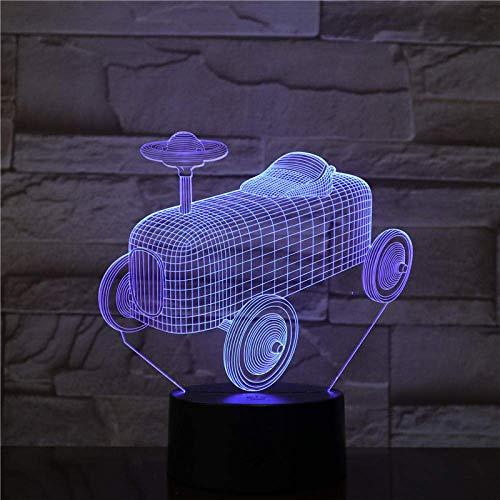 Lámpara de ilusión 3D, luz nocturna LED, diseño de coche deportivo, 7 colores visuales, para niños, táctil, lámpara de mesa USB, mejor regalo de cumpleaños, regalo de Navidad para niños