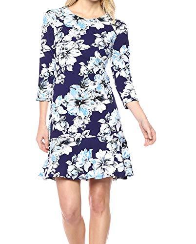 Eliza J Women's Floral Drop Waist Dress Casual, Navy/Blue, 8