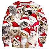 TUONROAD Weihnachtspullover Herren Hässliche Katze 3D Druck Weihnachten Pullover Unisex Komfortabel Ugly Christmas Sweater Langarmshirt Rundhals Xmas Sweatshirt Jumper - S