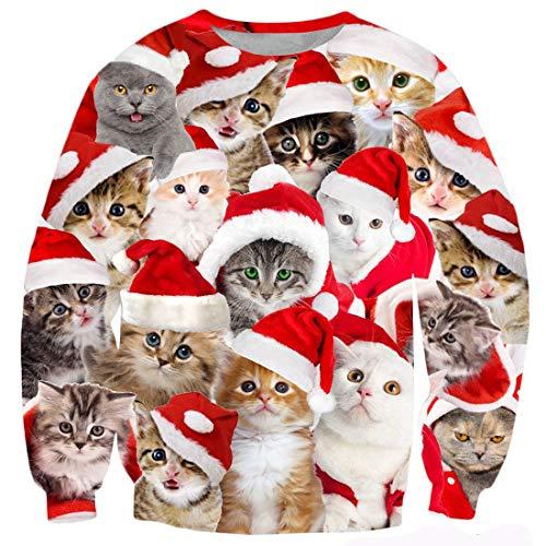 TUONROAD Sweatshirt Herren Lustig Katze 3D Druck Weihnachtspullover Damen Komfortabel Hässliche Christmas Pullover Langarmshirt Rundhals Xmas Sweatshirt Sweater Jumper - L