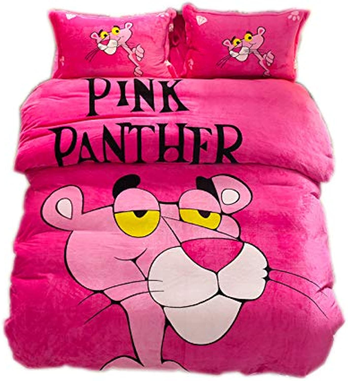 TravelMall 4pcs Thick Warming Flannel Home Queen Fitted Sheet AB Bedding Set Solid color Bed Predector Home Quilt Cover Blanket Set Predector School Dorm Cartoon Print  Pink Panther pink Red