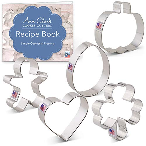 Ann Clark Cookie Cutters 5-Piece Cookie Cutters for Every Season Set with Recipe Booklet, Gingerbread Man, Pumpkin, Heart, Shamrock and Easter Egg