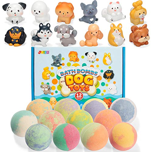 Bath Bombs with Dog Toys for Kids, 12 Packs Bubble Bath Bombs with Surprise Toy Inside (Cute Dogs Figures), Natural Essential Oil SPA Bath Fizzies Set, Kids Safe Birthday Gift for Boys and Girls