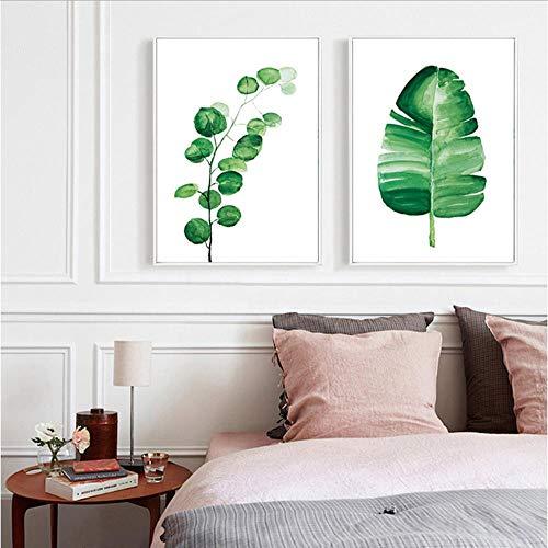 Waitingposter op canvas, tropische planten van aquarel, bladeren, kunst aan de muur en minimalistische schilderijen voor de decoratie van de slaapkamer 20X28