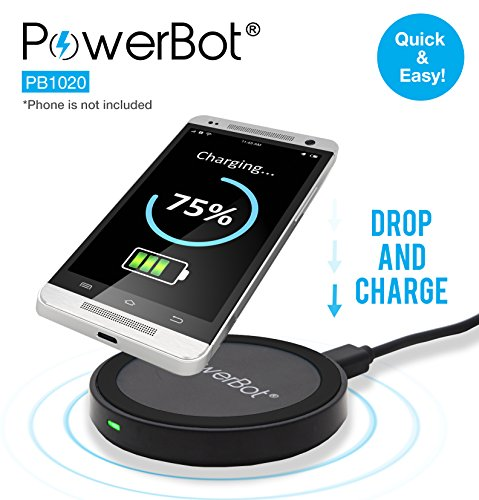 SoundBot Wireless Charger, Qi Compliant Fast Charging Pad (for Compatible Phones Only), PowerBot PB1020 Smart Inductive Charge Station for Qi Standard Enabled Smartphones, 2.1A AC USB Power Source