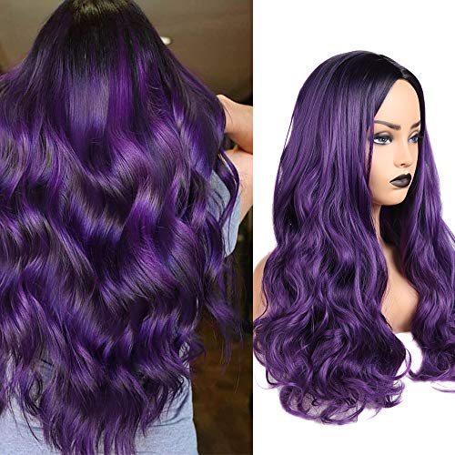 Ombre Wig Purple Wigs Long Curly Wavy Hair Wigs Heat Resistant 2 Tones Dark Roots Synthetic Wigs for Black Women Daily Party Cosplay