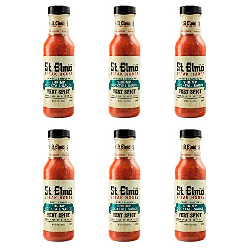 St. Elmo Cocktail Sauce, Extra Spicy Sauce for Shrimp and Seafood – 6 Pack