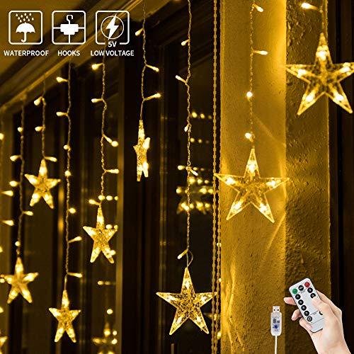 BLOOMWIN Catena Luminosa Stella, USB Luci Natalizie 3x0.65M 8 Modalità 120LED 12 Stelle LED della Tenda di Finestra con Telecomando e Ganci Luci Decorative per Natale Albero Festa Nozze Bianco caldo