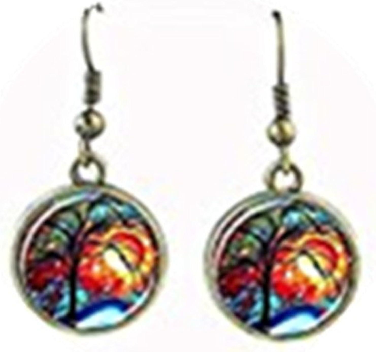 earrings tree of life jewelry bronze tree earring glass cabochon pendant women earings woodland ear ring jewellery gift