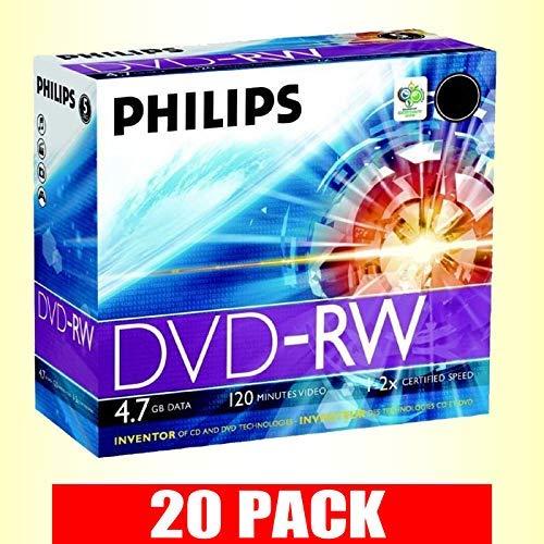 Philips Lot de 20 disques Vierges DVD-RW 4,7 Go 2 Vitesses 120 Min avec étui