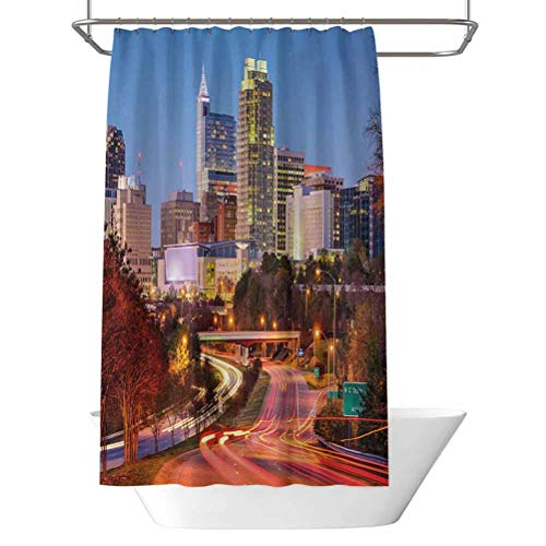 United States Decorative Shower Curtain Raleigh North Carolina USA Express Way Business District Building Skyscrapers Holiday House Shower Curtain W70 x L70 Inch Multicolor