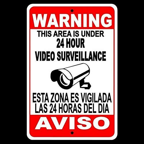 Yohoba CCTV Warning Security Audio Video Surveillance Camera Sign English/Spanish SS004