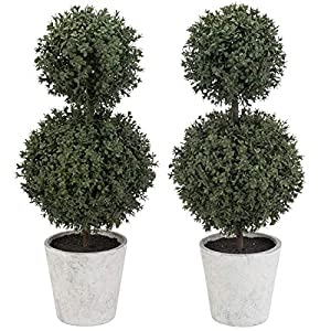 MyGift Artificial Boxwood Topiary Trees in Gray Paper Pulp Pots, Set of 2