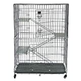 Carsparadisezone <span class='highlight'>Large</span> Luxury <span class='highlight'>Cat</span> <span class='highlight'>Cage</span> 3 Tiers <span class='highlight'>Cat</span> House 3 Level Resting Platforms Folding Metal Crate <span class='highlight'>Cat</span> Animal <span class='highlight'>Cage</span> with Bottom Tray [UK STOCK]
