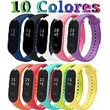 [Compatible con Mi Smart Band 4] 10 Piezas Correas Mi Band 3/4 Pulseras Reloj Silicona Banda para Mi Band 3/4 Reemplazo - 10 Colores