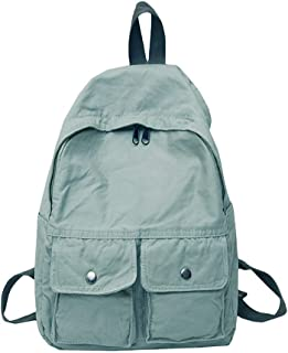Simple Literary Schoolbag, Solid Color Large Capacity Light Breathable Backpack, Teen Boy Girl School College Reduce Burden Canvas School Bag,Green