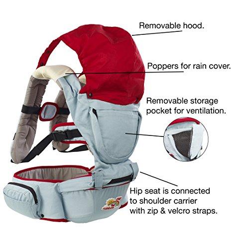 Porte-bébé + Hip Seat détachable + housse de pluie complète pop-on. OFFRE D'ETE. Large ceinture pour le porteur CONFORT ET SUPPORT. Bavoirs doux et dribbles pour bébé.