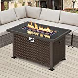 U-MAX Outdoor Propane Gas Fire Pit Table, 44 Inch 50,000 BTU Gas Auto-Ignition Rectangle Firepit for Patio with Brown Rattan Surface,Tempered Glass Lid & Glass Stone Rock CSA Certification
