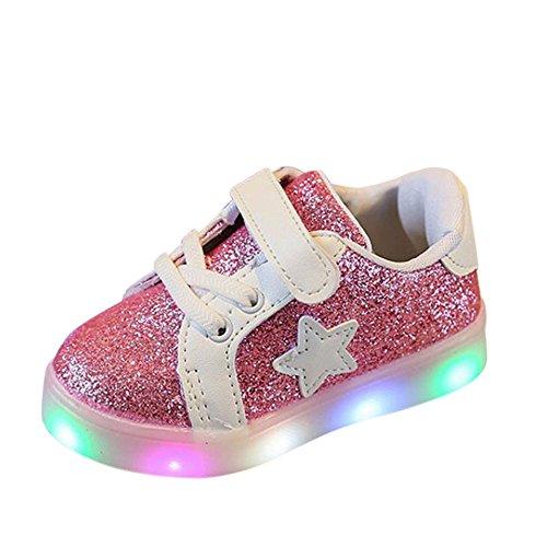 zum 1-6 Jahre alt URSING Baby Unisex Junge Mädchen Prinz Prinzessin Mode Star Glühend Sneaker LED leuchtet Kind Kleinkind Beiläufig Bunt Licht Bling Skateschuhe (22, Rosa)