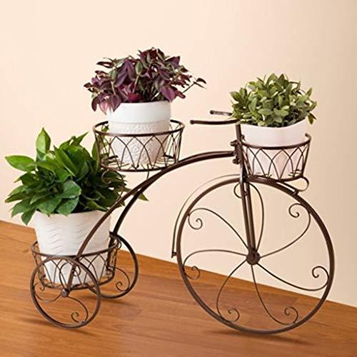XLYYHZ Pflanzenständer Fahrradstil Eisenrahmen Blumenständer Design für Ihre Blumen, Pflanzen Indoor Outdoor Wohnzimmer 3 Farben Optional Multi Tier Blumenregal (Farbe: Messing)