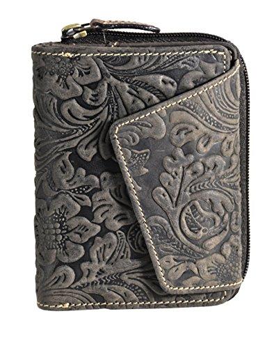 außergewöhnliche echt Leder Damen Geldbörse mit Außenriegel Jockey Club Liane Florale Motive, Ranken und Blüten in wunderschöner Hoch Tief Prägung Petrol mit RFID NFC Schutz