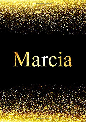 Marcia Notebook: Printed Glitter Black and Gold , Notebook Journal, 110 pages, 7x10 inch, Christmas gift , birthday gift idea